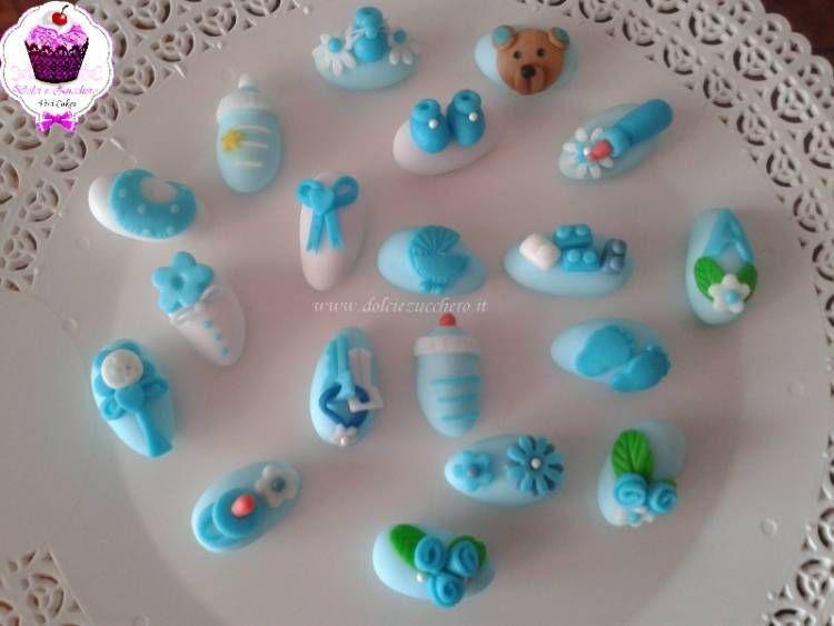 Confetti decorati per battesimo bimbo dolci e zucchero - Decorazioni battesimo bimbo ...